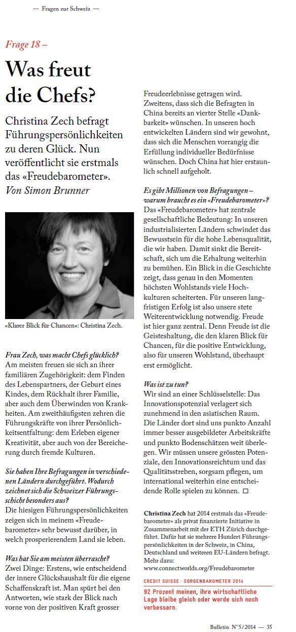 Medienstimmen Verein-Welten-verbinden Dr.-Christina-Zech Freudebarometer Credit-Suisse-Bulletin